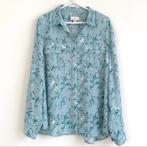 LOFT Blue Floral Roll-Tab Sleeve Button Up Blouse